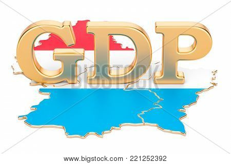 gross domestic product GDP of Luxembourg concept, 3D rendering isolated on white background