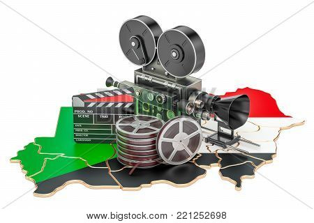 Sudanese cinematography, film industry concept. 3D rendering isolated on white background