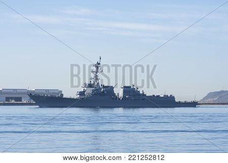 SAN DIEGO, CALIFORNIA, USA - OCTOBER 16, 2017: The USS Rafael Peralta (DDG-115), a highly advanced guided-missile destroyer, returns to San Diego after undergoing testing at the Point Mugu Test Range.