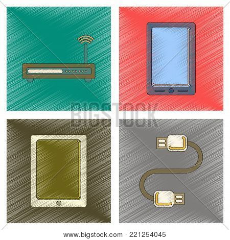 assembly flat shading style icon of Wi fi modem mobile phone gadget usb cable