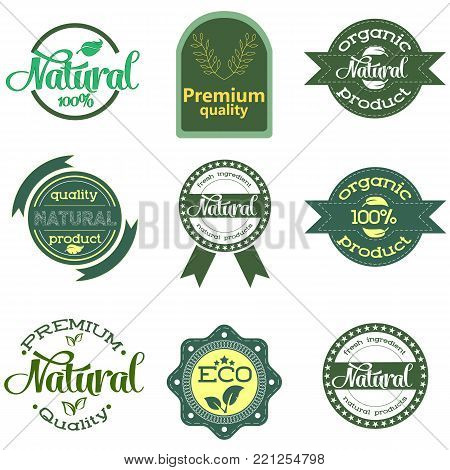 Set of green labels and badges with leaves for organic, natural, bio and eco friendly products isolated on white background. Set of design elements. Vector illustratiom