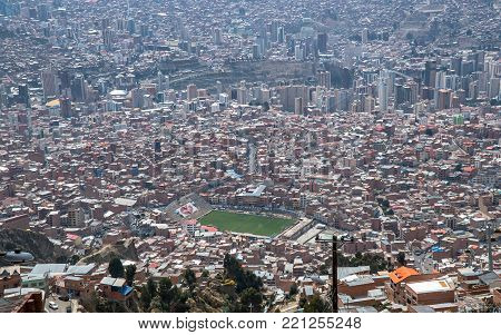 La Paz, Bolivia - September 2017: Viev stadium is Estadio Libertador Simon Bolivar