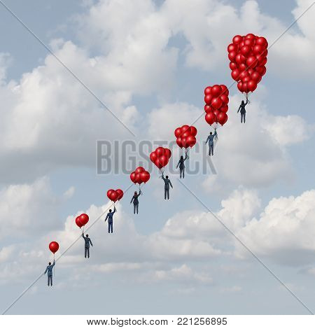 Business progress concept as a group of business people holding gradual increasing air balloons as a success metaphor with 3D illustration elements.
