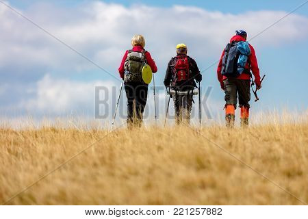 Rear view shot of young friends in countryside during summer holiday hiking. Group of hikers walking in the nature
