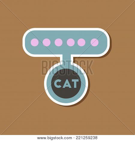 paper sticker on stylish background of cat collar