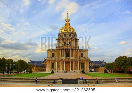 View of Dome des Invalides, burial site of Napoleon Bonaparte, Paris, France.
