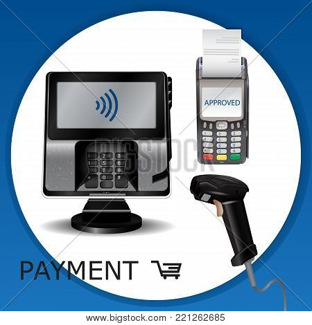 Contactless Payment Transaction Terminal With Display And Pinpad. Wireless Payment. Pos Terminal, Ms