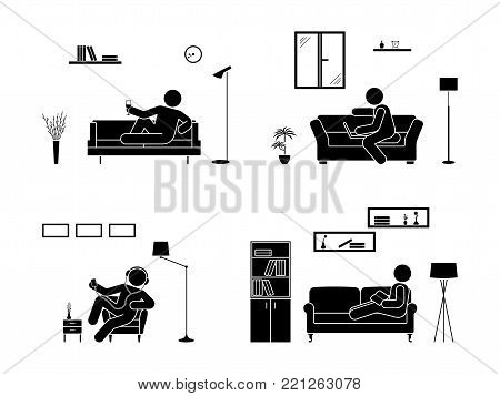 Stick figure resting at home position set. Sitting, lying, reading book, listening to music, using laptop, drinking wine vector icon relaxing posture on sofa and armchair