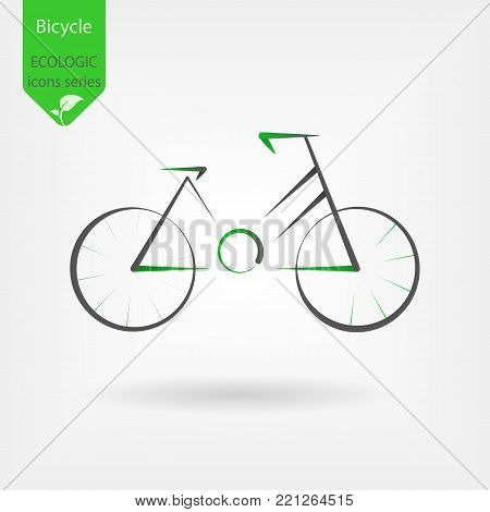 Modern vector logo for bicycle in green style. Design concept for eco tourism and bicycle shop in line style. bicycle angular concept. Ecologic icon in flat style