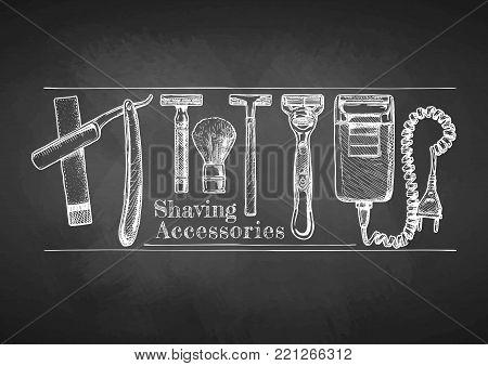 Shaving accessories set drawn with chalk on blackboard. Straight razor, double-edge Safety razor and shaving brush, disposable razor, modern razor, Electric razor.