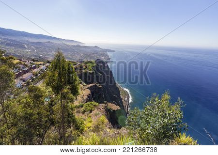 Wide Angle View Of The Madeira Coastline From Cabo Girao In Portugal.