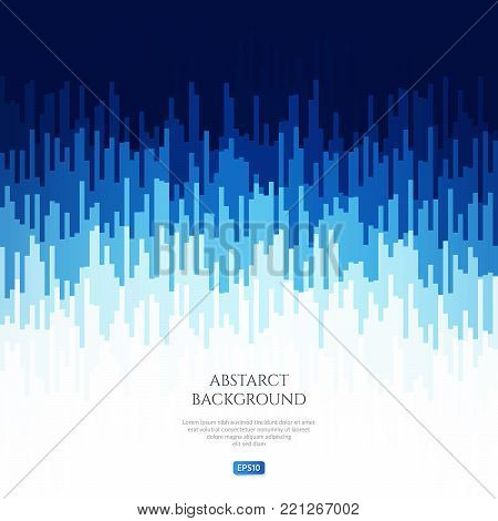 Abstract image with geometrical patterns. Change the level of the audio signal. Sound vibrations. Bright shades of blue.