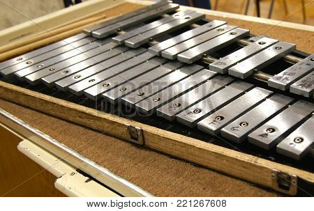 Xylophone ready to be played at a concert