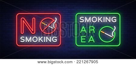 Smoking area and no smoking vector neon signs. Neon symbol, a luminous sign is a place for smoking. Neon sign of smoking ban. Bright sign, luminous banner.