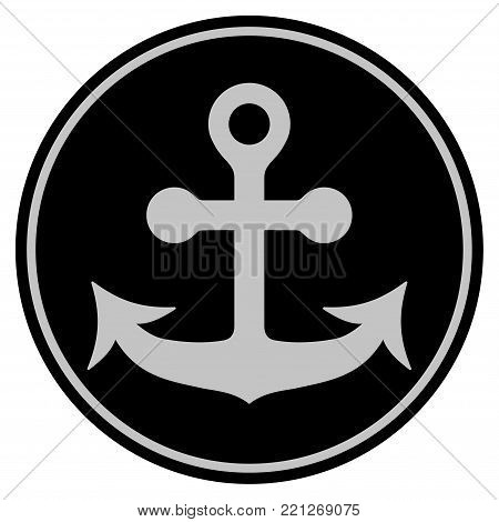Anchor black coin icon. Vector style is a flat coin symbol using black and light gray colors.