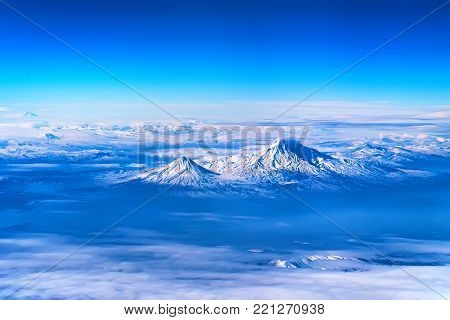 Scenic aerial view of Mount Ararat. The legendary resting place of Noah's Ark.