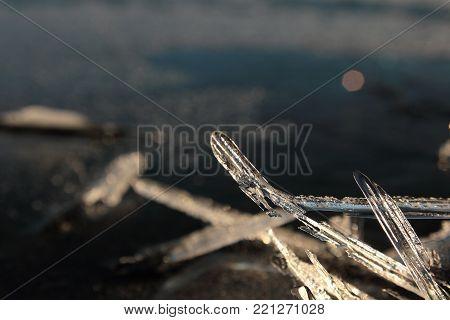 Frozen Water, Lake In Winter, Ice Chunks, Frozen Background Stones.