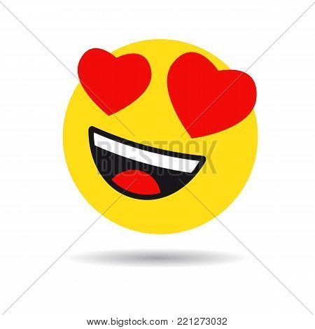 Smile in love emoticon icon, love hearts in eyes. Vector emoticon emoji flat heart in the eyes symbol