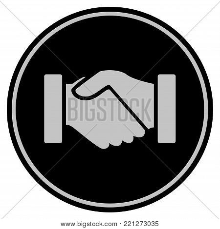 Acquisition Handshake black coin icon. Vector style is a flat coin symbol using black and light gray colors.