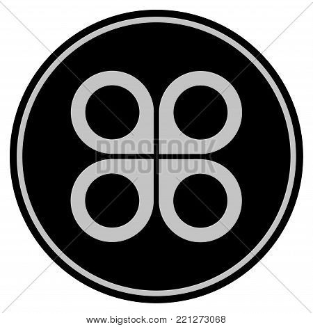 Air Drone black coin icon. Vector style is a flat coin symbol using black and light gray colors.