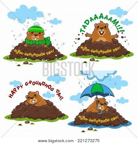 A collection of marmot illustrations for design and cards. A happy marmot, a marmot with an umbrella in the rain and a sad marmot in a hat and with a scarf.
