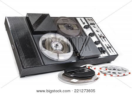 Old audio magnetic tape recorder reel to reel from seventies