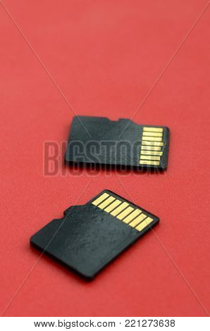 Two small micro SD memory cards lie on a red background. A small and compact data and information store