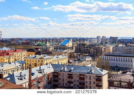 Russia, Kazan - April 26, 2017: Top view of the historical, business and cultural center of city, Lake Kaban, Tatar State Academic Theater named after Kamal, Vakhitovsky and Privolzhsky districts