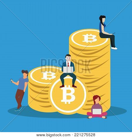 Bitcoin concept vector illustration of young people using laptop and smartphone for online funding and making investments for bitcoin and blockchain. Flat design of new technology.