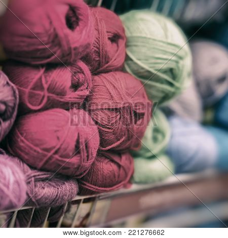 Soft and fluffy yarn for the beloved Hobby. Store of goods for creativity and needlework, retail, shelves for craftsmen