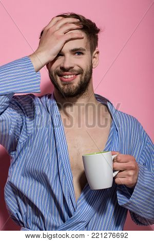 Bachelor In Blue Dressing Gown Smile With Mug