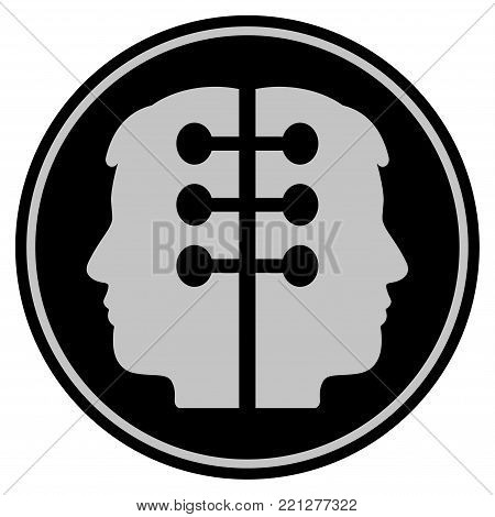 Dual Head Interface black coin icon. Vector style is a flat coin symbol using black and light gray colors.