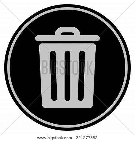 Dustbin black coin icon. Vector style is a flat coin symbol using black and light gray colors.