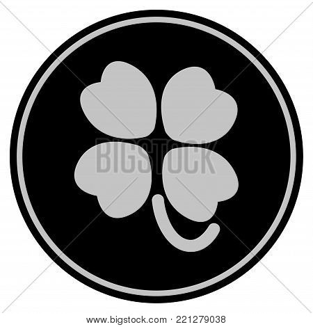 Four-Leafed Clover black coin icon. Vector style is a flat coin symbol using black and light gray colors.