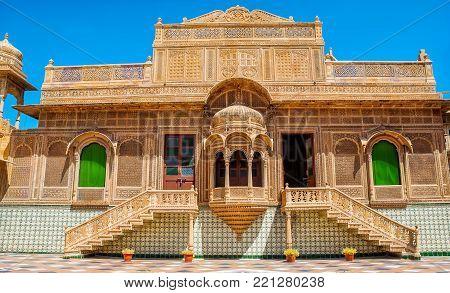 JAISALMER, INDIA - SEPTEMBER 22: The beautiful exterior and interior of Mandir Palace on September 22, 2013 in Jaisalmer, Rajasthan, India. Jaisalmer is a very popular tourist destination in Rajasthan.