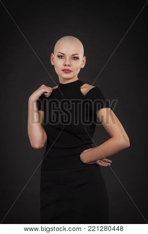 Emotional Portrait Of Girl Shaved Bald.