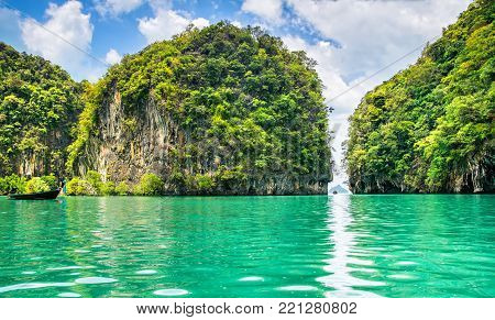 Amazing view of lagoon in Koh Hong island from kayak. Location: Koh Hong island, Krabi, Thailand, Andaman Sea. Artistic picture.