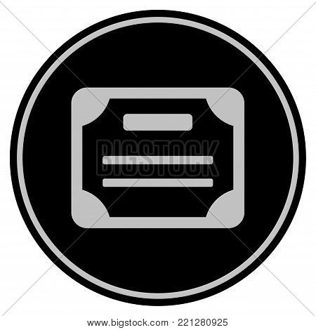 License black coin icon. Vector style is a flat coin symbol using black and light gray colors.