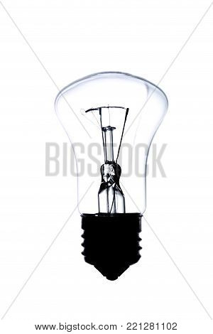 incandescent lamp, isolated on white background, in backlight