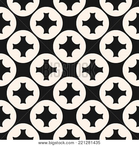 Vector geometric seamless pattern with carved circular shapes, crosses. Geometric tiles pattern. Floor tiling texture. Abstract monochrome background, repeat tiles. Square design element for decoration, textile, fabric, cloth, wrap, package