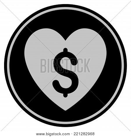 Paid Love black coin icon. Vector style is a flat coin symbol using black and light gray colors.