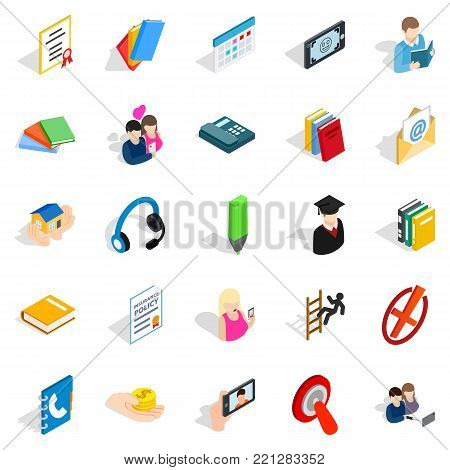 Chat icons set. Isometric set of 25 chat vector icons for web isolated on white background