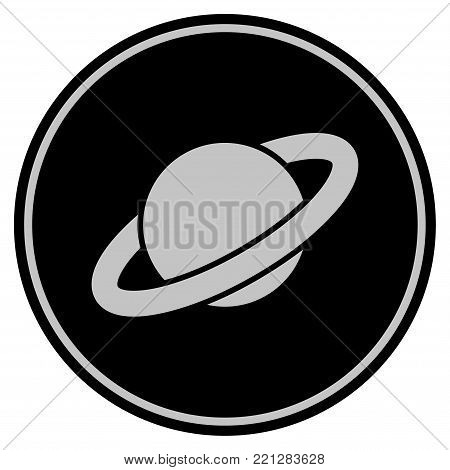Planet Saturn black coin icon. Vector style is a flat coin symbol using black and light gray colors.