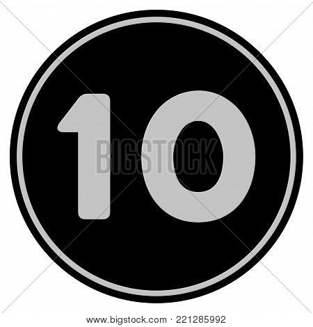 Ten black coin icon. Vector style is a flat coin symbol using black and light gray colors.