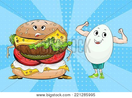 Egg and hamburger. Healthy food and fast food. Choice concept between useful and harmful food. Pop art. Vector illustration.