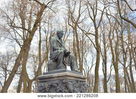 Monument to Ivan Krylov in the Summer Garden in St Petersburg, Russia.