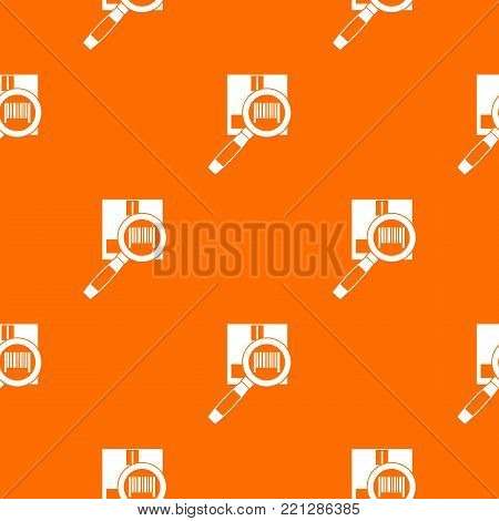 Magnifier and diskette pattern repeat seamless in orange color for any design. Vector geometric illustration