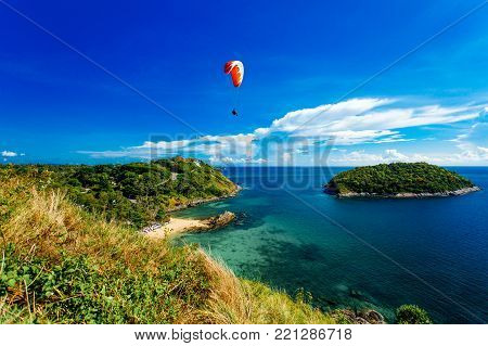 Rawai Beach of Promthep Cape view point in blue sky with clouds, Phuket Thailand