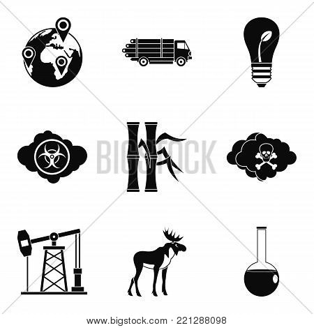 Threat of nature icons set. Simple set of 9 threat of nature vector icons for web isolated on white background