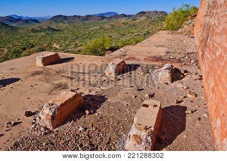 The concrete terrace of the Tonopah Belmont Mining Camp.